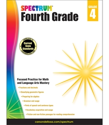 Spectrum Fourth Grade Math, Lang Arts, Reading 4